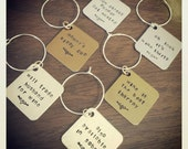 Custom Hand Stamped Funny Wine Charms - set of 6