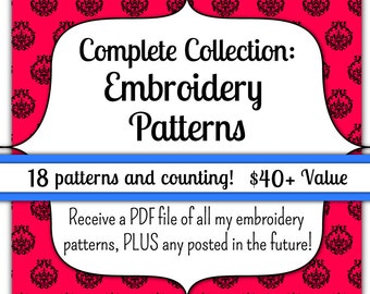INSTANT DOWNLOAD Complete Collection of Embroidery Patterns
