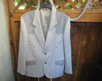 Pioneer Wear blazer/jacket size 46 Western Style JACKET Gray Made in USA