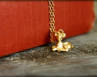 Sitting Fawn Necklace, Available in Silver and Gold
