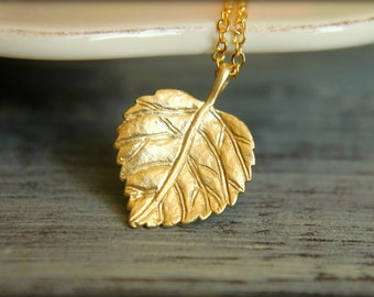 Leaf Necklace, Available in Silver and Gold