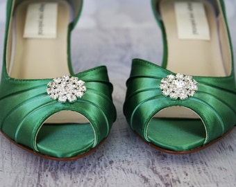 Green Wedding Shoes -- Emerald Kitten Heels with Rhinestone Adornment