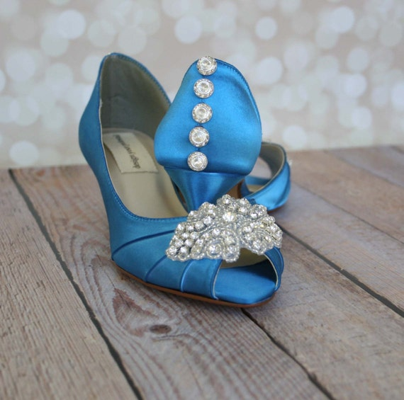 Wedding Shoes Turquoise Peep Toe Wedding Shoes With