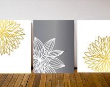 Set of 3 Prints- White and Gold Art- Wall Art Print- Wall Art Set- Chrysanthemum Print- Minimalist Decor- Minimalist Art- Gold Wall Art Set