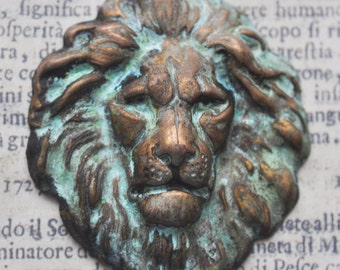 King of the Jungle Brass Stamping, Honey Cyan Patina -  Craft Supplies by CalliopesAttic