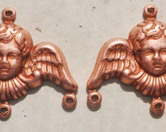 FOUR Angel Charm Holders, Rose Ox, 20 mm - Charms - Supplies by CalliopesAttic