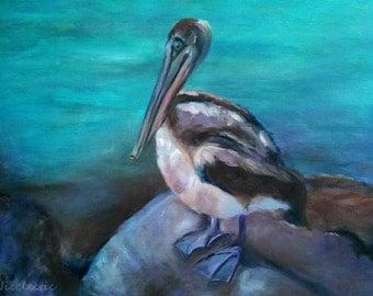 Florida Pelican, ORIGINAL oil painting, beach decor, canvas, 18x24 inch art, summer bird, Pelican art, coastal wall decor beach art nautical