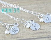 Tiny Sterling Silver Hand Stamped Initial Necklace, Bridesmaids Jewelry, Wedding Jewelry, Bridal Jewelry by Miss Ashley Jewelry