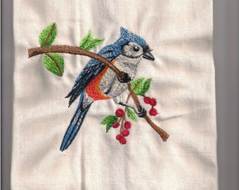 New Tea Kitchen towel embroidered BLUE JAY