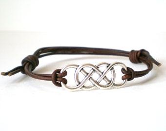 double infinity bracelet, friendship bracelet, rocker cuff, teen cuff, adjustable leather cuff, stacking bracelet, festival bracelets