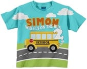 Boy's School Bus Shirt, Personalized Schoolbus Birthday T-Shirt, First Day of School Shirt