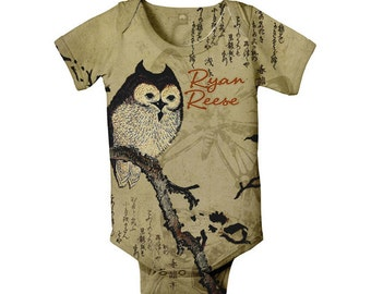 Brown Owl Bodysuit, Personalized Infant Owl Shirt, One-Piece Baby Clothing