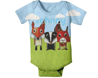 Baby Boy Bodysuit, Personalized Woodland Fox, Squirrel, Skunk, Baby One Piece Clothing, Custom Onepiece
