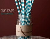 25 Teal and White Round Pattern Paper Straws  - Standard 7.75'' / 19.68cm