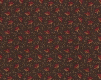 Sweet Pea Fabric Collection by Kansas Troubles - Brown Split Leaves 9402-13 - 1 Yard