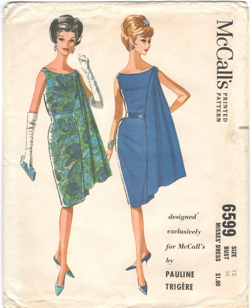 1960s Pauline Trigère evening dress pattern - McCalls 6599