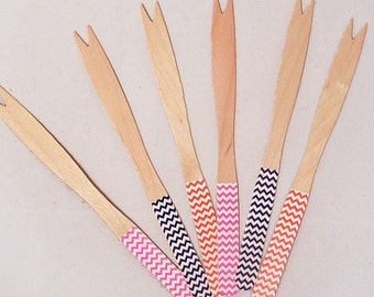 72 Color Choices - Chevron Cocktail/Fondue Forks - Set of 30