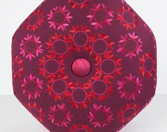Dorm Room Decor- Moroccan Madness Ottoman- Footstool- Floor Ottoman- Flower Child- Purple, Pink, Red- by beckyzimmdesign