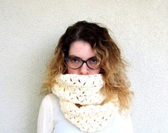 Creme / Ivory Crochet Scarf Infinity extra large chunky circular circle for woman