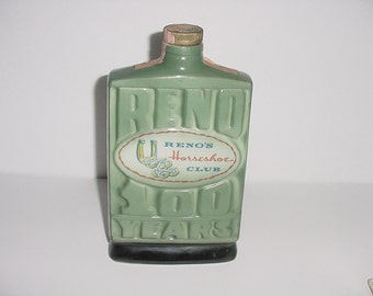 """Collectible Liqour Decanter Reno 100 Years """"The Biggest Little City In The World"""" Horseshoe Club Regal China Jim Beam Whiskey"""