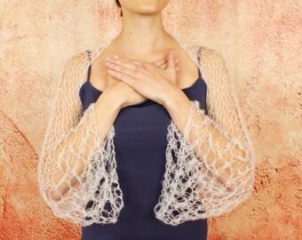 Seria - Spring Wedding Silk Kid Mohair Elegant Romantic Three Quarter Sleeve Shrug Custom Colors by Eva Bella Boutique