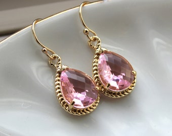 Light Pink Earrings Gold Blush Teardrop Earrings Pink Bridesmaid Earrings Jewelry Wedding Earrings Valentines Day Gift Blush Bridal Jewelry