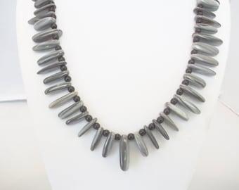 Handmade Jewelry, Beaded Necklace, Black Grey Shell Stick Beaded Necklace, Shell Necklace, Black Gray Necklace, Statement Necklace, Beadwork
