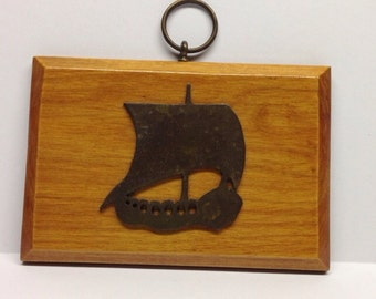 Vintage wall hanging plaque nautical tall ship wooden with hook