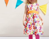 Poppy print little girls party dress