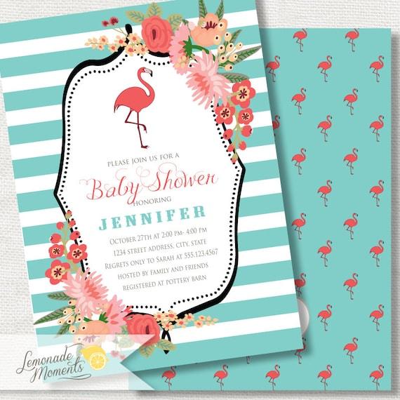 flamingo baby shower invitation baby shower invite by lemonade