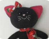 Mini Black Cat Plush with Bow and Scarf