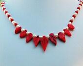 Coral Leaf & Pearl Hawaiian Necklacel, June Birthstone, Delicate Bib Necklace