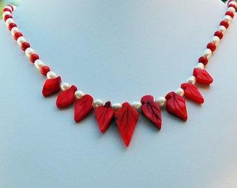 Coral Leaf Pearl Hawaiian Handmade Designer Necklace