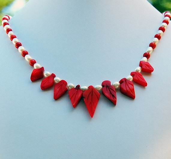 Coral Leaf Pearl Hawaiian Handmade Designer Necklace