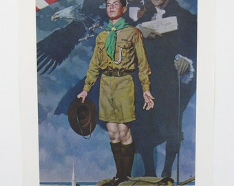 Vintage 1960's Norman Rockwell A Scout is Loyal Boy Scout Print