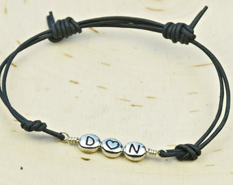 Personalized Couple's Leather Adjustable Bracelet- Pewter Letter/Initals with Heart Bead Black or Brown Bracelet
