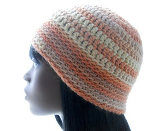 Wool - Soy Beanie Hat, Women's Crochet Hat in Neutral and Apricot Stripes, Small Size