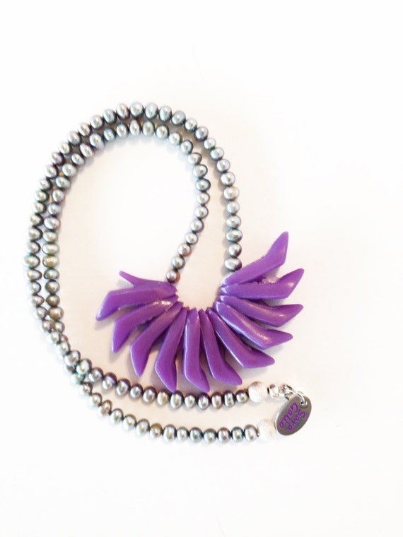 Flapper Girl Doll Shoe Necklace(c) in Sage/ Purple by Sara Gallo