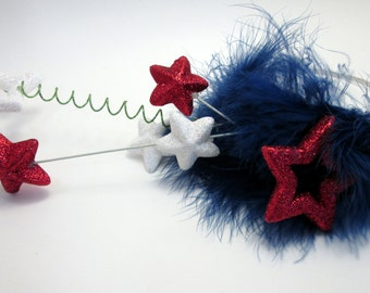 Americana Fourth of July Fireworks Explosion Tiara Headband -red white and blue stars military wedding headpiece - Reception photo prop
