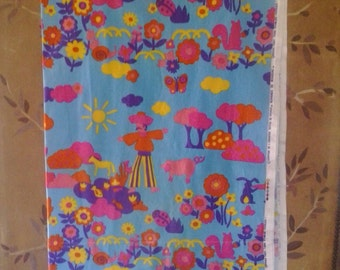 70s French psychedelic farm scene fabric