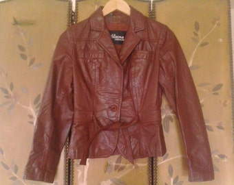 70s Wilsons maroon leather fitted jacket