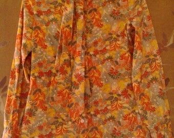 80s Tropical print blouse with neck tie