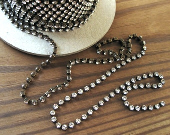 24PP Crystal Rhinestone Chain Oxidized Brass Yardage 3mm Stones Preciosa New (Yard)