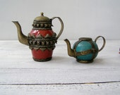 Oriental Brass Ceramic decorative Teapot set, Pottery Art Home decor, Antique Collectible Shelf decorations small Red Turquoise Kettles