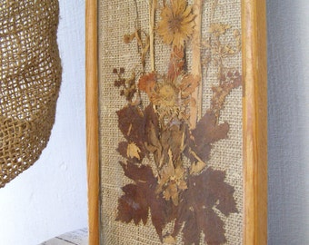 Rustic Dry flowers Wall art, Framed Floral Jute Picture, Brown, Folk Art, Cottage chic, Dry bouquet, Nature art, Retro Garden Wall Decor