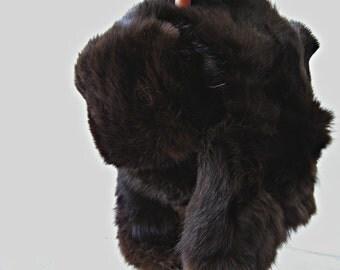 Vintage Fur Trapper Hat, Man Woman Brown Ushanka Hat, Soviet XS Snow Ski Hat, Vintage Genuine Fur Hat Ear Covers Winter Hat, Alpine Snow Hat