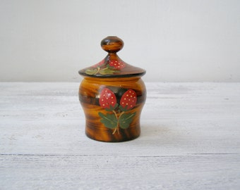 Folk art Wood Jar, Small Canister Container, Rustic Kitchen Decor, Handpainted Strawberry Tin, Ethnic Wood Art, Jewelry Wood Box Vintage