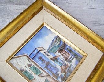Vintage Landscape Picture, Wood Frame Print, Old City Scape Painting, Rustic Golden Home Decor, Old Realistic Painting Man Office Decoration