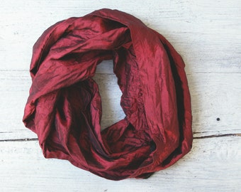 Vintage Long Scarf Pure Silk, Long Scarf Burgundy Red, Unisex Long Scarf Silk, Fashion Silk Scarf, Spring Long Scarf Burgundy Color Accent