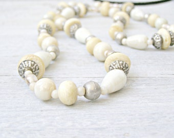 Antique Bone Bali Silver and glass beaded long necklace, Bold beige Retro 20s Style fashion Statement Necklace, Retro Bridal Necklace